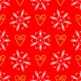 Repeating cute hearts and snowflakes drawn by hand. New Year seamless pattern. royalty free illustration