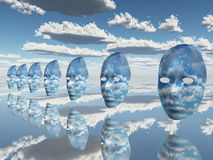 Repeating faces of clouds. And mirror like surface Royalty Free Stock Photography