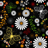 Repeating floral black pattern royalty free illustration