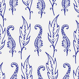 Repeating floral and feather pattern. Seamless texture. Royalty Free Stock Photo