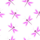 Repeating floral and feather pattern. Seamless texture with brown leaves.Vector seamless pattern with pink dragonflies on the whit Stock Images