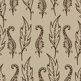 Repeating floral and feather pattern. Seamless texture with doodles. Royalty Free Stock Image