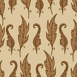 Repeating floral and feather pattern. Seamless texture. Royalty Free Stock Photos
