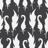 Repeating floral and feather pattern. Seamless texture with leaves silhouettes. Royalty Free Stock Photos