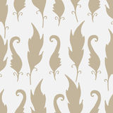 Repeating floral and feather pattern. Seamless texture with leaves. Royalty Free Stock Images