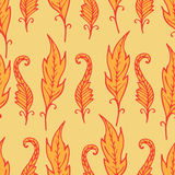 Repeating floral and feather pattern. Seamless texture. Stock Photo