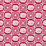 Repeating floral pattern in eastern style of painting. Light seamless ornament with flowers on a red background. Royalty Free Stock Images