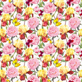 Repeating floral pattern. Peonies flowers, irises and butterflies. Water color. Seamless floral pattern. Peonies pink flowers and irises. Watercolor Royalty Free Stock Photos