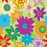 Repeating Flower Background. Colorful flower seamless repeating background Stock Photo