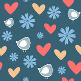 Repeating funny flowers, birds and hearts. Cute seamless pattern. Stock Photography