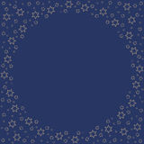 Repeating golden stars silhouette pattern on the blue background. Border frame with space for text. Christmas and Happy New Year symbol concept vector Royalty Free Stock Photo
