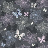 Repeating gray floral pattern. With pastel flowers and butterflies (vector Royalty Free Stock Images
