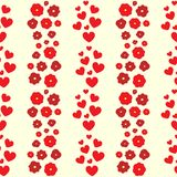 Repeating hearts and flowers. Cute floral seamless pattern. Romantic feminine print. Vector illustration vector illustration