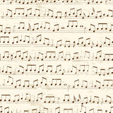 Repeating Musical Notes. Faded old random musical notes background. Repeating tileable vector illustration Royalty Free Stock Photos