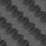 Repeating ornament of dotted wavy texture with monochrome transa Stock Image
