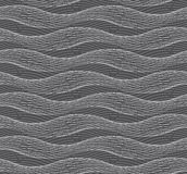 Repeating ornament of many gray horizontal wavy lines on dark gr Stock Photo