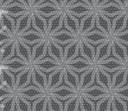 Repeating ornament stars with lines on gray textured with dots Royalty Free Stock Photos