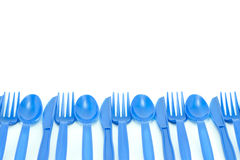 Blue plastic utensils Stock Photography