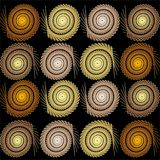 Repeating pattern of circular elements on a black background Stock Images