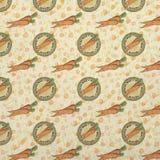 Vintage Peter Rabbit Background - Carrot Seal - Official Easter Mail Patterned Background Paper royalty free illustration