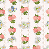 Repeating pattern with flowers on a background of rustic lace. vector illustration