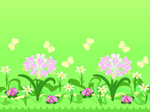 Repeating pattern with  flowers  and butterflies Royalty Free Stock Photos