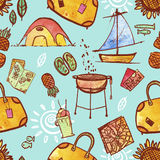 Repeating Pattern Illustration Of Travel And Vacation Icons Stock Photo