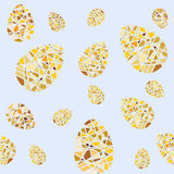 Repeating pattern of mosaic Easter eggs. Seamless background for wrapping paper textile products and web pages. Stock Photo