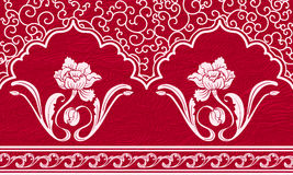 Repeating pattern with motifs of Chinese painting. White ornament and flowers on a red textured background. Vector illustration royalty free illustration