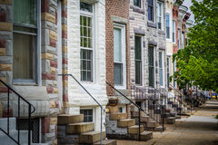 Repeating pattern of row houses in Hampden, Baltimore, Maryland. royalty free stock image