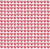 Repeating pattern of Valentine's Day red Hearts isolated on a wh Stock Photography