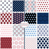 Seamless polka dot patterns in red, white and blue. Set of 16 seamless polka dot patterns in red, white and blue Royalty Free Stock Image