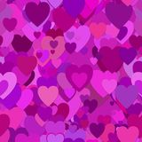 Repeating random valentines day background pattern - vector illustration from purple hearts Stock Images