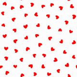 Repeating red hearts on white background. Romantic seamless pattern. Drawn by hand. Cute endless print. Vector illustration stock illustration