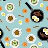 Seamless Breakfast Pattern vector illustration