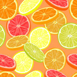 Repeating seamless pattern of different citruses. Royalty Free Stock Photography