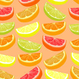 Repeating seamless pattern of different citruses. Stock Images