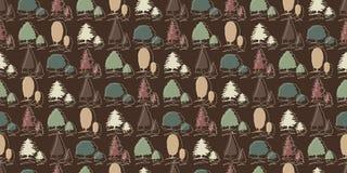 Seamless tree pattern on brown Royalty Free Stock Photos