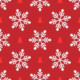 Repeating snowflakes and silhouettes of Christmas trees. Simple seamless pattern for New Year design. Vector illustration royalty free illustration
