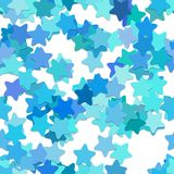Repeating star pattern background - vector design from rounded pentagram stars in light blue tones with shadow effect. Repeating geometrical star pattern Royalty Free Stock Photo