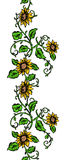 Repeating Sunflower Banner Royalty Free Stock Image