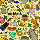 Repeating tea pattern. Stock Photo