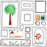 Repeating texture with Children's drawing frames Stock Photos