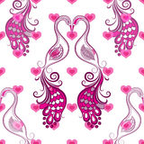 Repeating valentine pattern. Seamless valentine vintage pattern with stylized birds and hearts (vector eps 10 Stock Photo