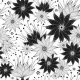 Repeating white-black floral pattern Stock Image