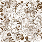 Repeating white-brown floral pattern Royalty Free Stock Image