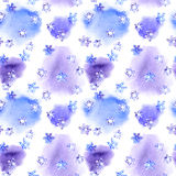 Repeating winter pattern with snow flake on blotch watercolor Royalty Free Stock Image