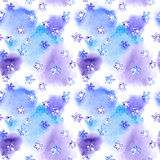 Repeating winter pattern with snowflakes on blotch watercolor Stock Photos