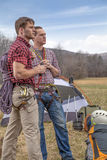 Repellers at the campsite. Repellers with rope looking and planning royalty free stock image
