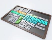 Repensando, concepto de la palabra de la táctica 3d Imagen de archivo libre de regalías